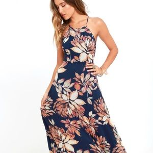 Lulus Adventure Seeker Navy Blue Floral Maxi Dress